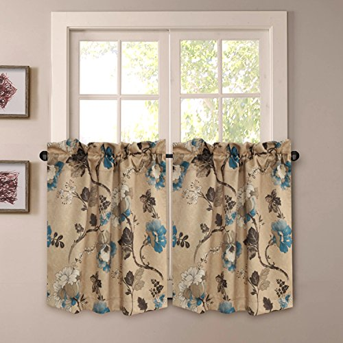Thermal Insulated Ultra Soft Rustic Kitchen Curtains,Rod Pocket Window Curtain Tiers for Café, Bath, Laundry - Vintage Floral Pattern - (58