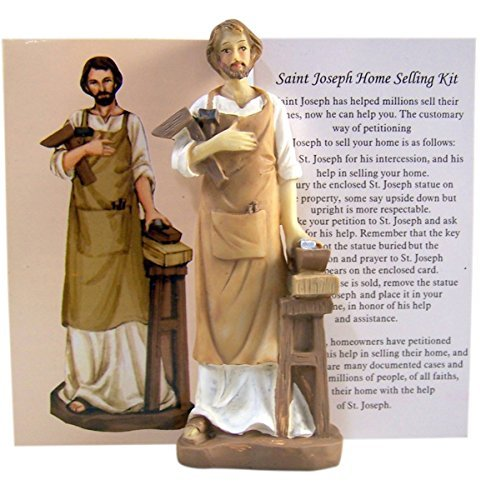 Home Seller Kit with Resin Saint Joseph Satue and Prayer Card, 4 Inch