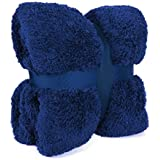 New Large 130 x 180cms Teddy Soft Cuddly Fluffy Royal Blue Plain Throw Bed / Sofa Throwover Blanket by Velosso