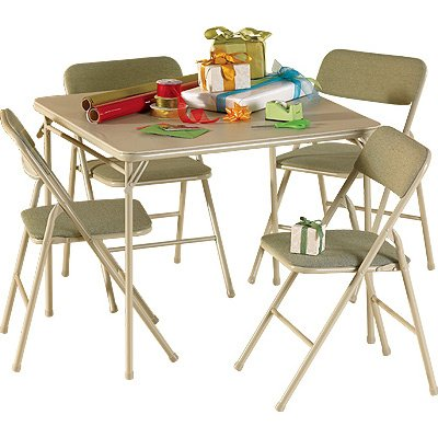 Cosco 14-551-WHD 5-Pc. Square Folding Table & Chair Set, Wheat Color