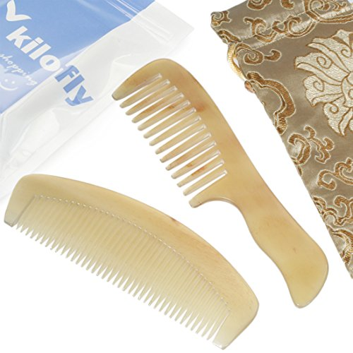 - kilofly Genuine No Static Natural Sheep Horn Comb [Set of 2] + Carring Pouch