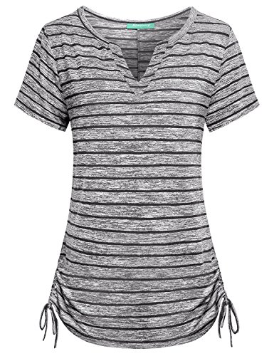 (Short Sleeve Henley Shirts for Women,Kimmery Swing Tops Notch V Neck Adjustable Hem Flowy Tunics Drawstring Shirring Details Sides Striped Tee Appearance Outstanding Cozy Cotton Blouse Black XX Large)