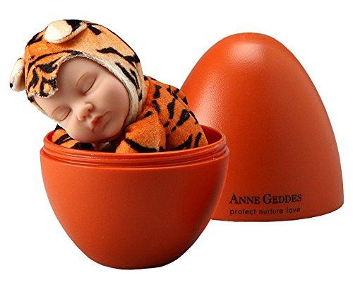 Anne Geddes 9in Plush Tiger Sleeping Baby Doll in Orange -