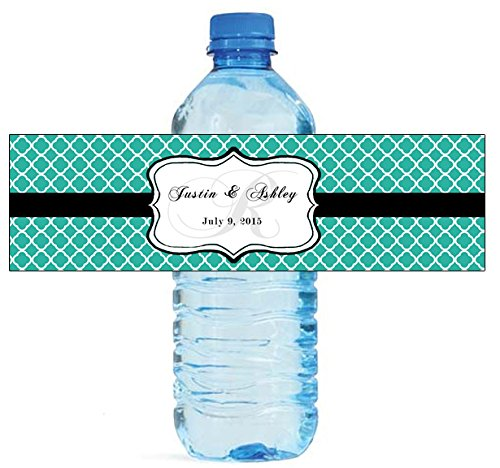 100 Teal Pattern Monogram Wedding Water Bottle Labels Engagement Party - Labels Pattern