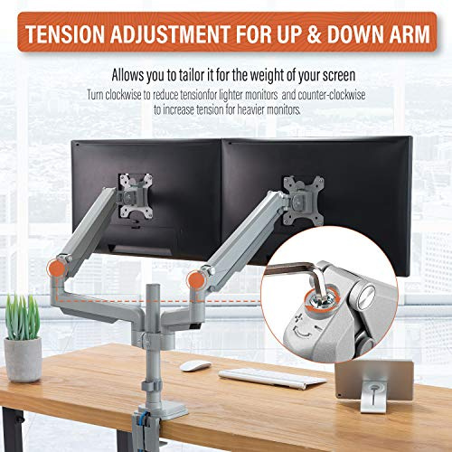"""PUTORSEN® PC Dual Monitor Arm - Aluminum Ergonomic Height-Assisted Full Motion Heavy Duty Double Arm Desktop Clamp Mount for 17–32"""" Screens VESA 75 to 100mm Weight up to 9kg (USB3.0 & Audio Ports)"""