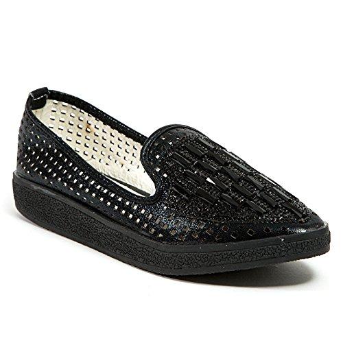 Dame Couture Platte Sneaker Met Strass Dameschoenen Van, Koorts Zwart