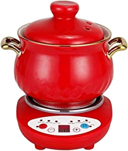 Mixue Health Pot Ceramic Mini Electric Cooker Slow Cooker Automatic Multi-Function Mini Soup Pot Suitable for Dormitory Household (Red+Base,1.2L)