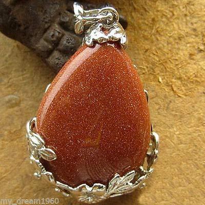 Clip Goldstone - FidgetKute 44X26mm Opal Jade Goldstone Gems Teardrop Flower Wrap Clip Clasp Pendant Goldstone