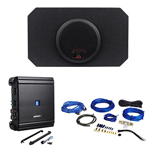 "Package: Alpine SWR-8D2 4-Ohm Type-R 8"" Car Subwoofer 1000 Watt Peak / 350 Watt RMS Loaded In a Vented Enclosure + Alpine MRV-M500 500 Watt Mono Car Amp + Rockville RWK81 8 Gauge Complete Wire Kit"