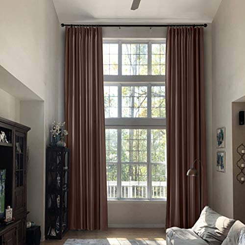 Prim Extra Length Outdoor Drapes Pinch Pleated Curtains Thermal Insulated Blackout Room Curtain