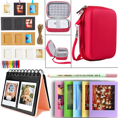 SAIKA HP Sprocket and Polaroid Zip Instant Printer Accessories - HP Sprocket Case(Clear Case Not Included), Photo Album, Wall Hanging Frame, Table Frame and Paintbrush - Red by SAIKA