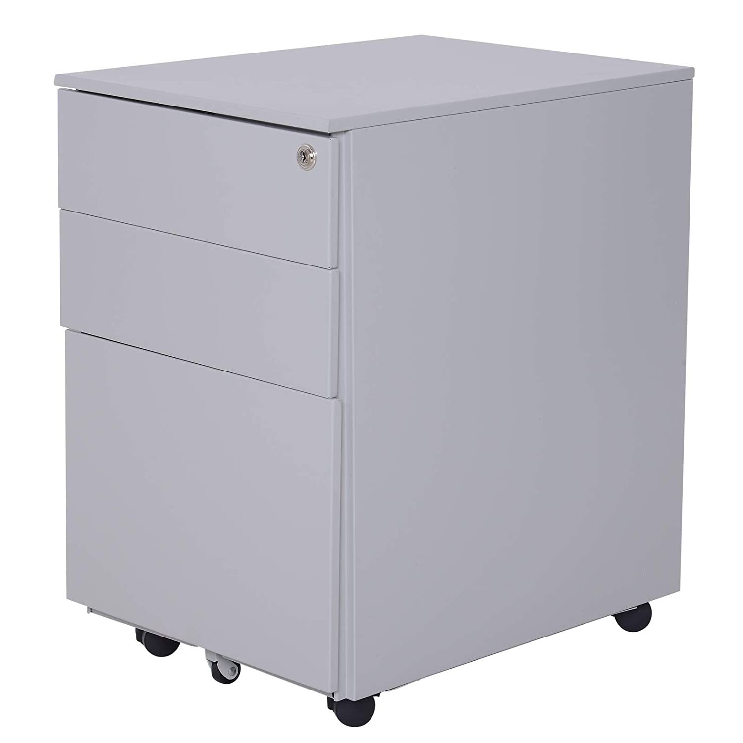 Stupendous Vinsetto 24 Metal 3 Drawer Locking Under Desk Filing Cabinet On Wheels Grey Beutiful Home Inspiration Cosmmahrainfo