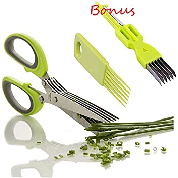 SUMCOO Stainless Steel 5 Blade Kitchen Herb Shears Scissors With Clean Comb,Office Paper and Herb cutting, Chopping and Shredding Scissors With Cover (herb shear)