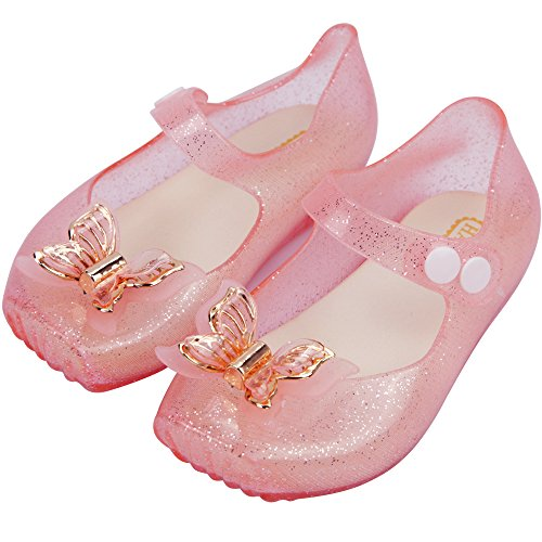 iFANS Girls Comfortable Cute Butterfly Toddler Kids Mary Jane Flats Ballet Shoes,Pink,7 M US Toddler