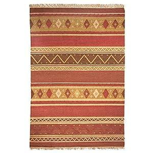 MonBeauTapis Tapis 200 x 140 cm, Jute, Rouge, 200x140x15 cm