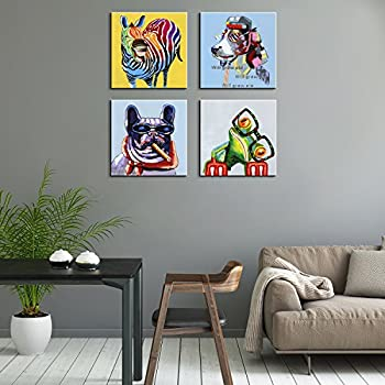 Amazon 3hdeko zebra oil painting on canvas 30x30inch gray animals canvas print wall artmodern horse oil painting wall painting happy dog frog canvas painting home decor animal prints 12x12x4 retro altavistaventures Gallery