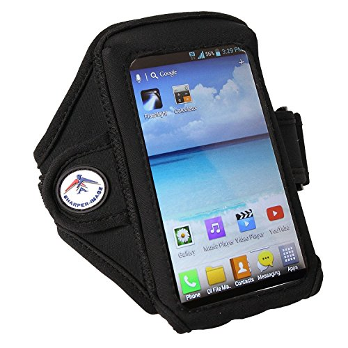 A Sharper-Image Deluxe Sports Armband, Fits iPhone 6, Galaxy S6 & Smaller, No-Slip Comfort – Black