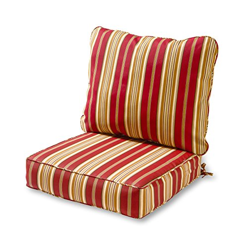 Greendale Home Fashions Deep Seat Cushion Set, Roma Stripe (Iron Patio Wrought Cushions Furniture Discount)