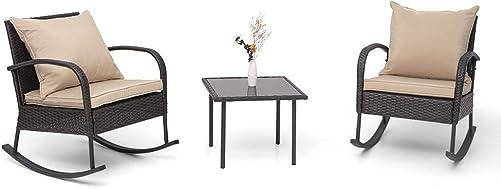 Crestlive Products 3 PCS Patio Wicker Bistro Set Outdoor Rattan Rocking Chair