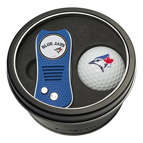 Team Golf MLB Toronto Blue Jays Gift Set Switchblade Divot Tool with Double-Sided Magnetic Ball Marker & Golf Ball, Patented Single Prong Design, Less Damage to Greens, Switchblade Mechanism