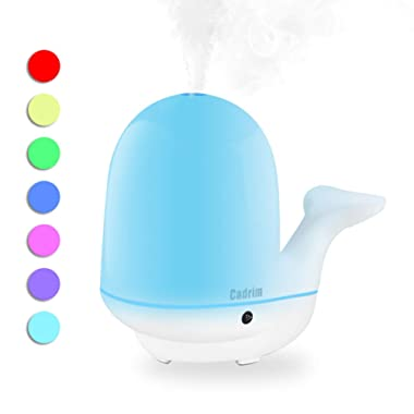 Cadrim Cool Mist Humidifier, Cute Essential Oil Diffuser Ultrasonic Water Vaporizer Aromatherapy Diffuser with 7 Colors Waterless Auto-Off No Noise for Baby Kids Bedroom Living Room (200ml)