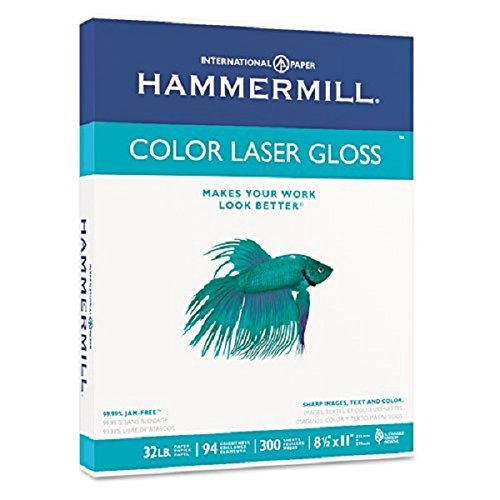 Hammermill : Color Laser Gloss Paper, 94 Brightness, 32lb, Letter, White, 300 Sheets per Pack -:- Sold as 2 Packs of - 300 - / - Total of 600 Each by Hammermill