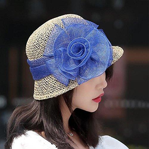 Mujeres Sun Color Elegante Las Azul De Paja Flores Verano Sombrero N8n0wvmO