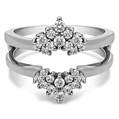 TwoBirch 0.37 Ct. Double Row Round Prong Set Ring Guard in Sterling Silver with Brilliant Moissanite (Size 10) (Round Moissanite Double Prong)