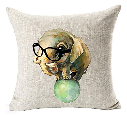 Circus Animals Print - Funny Lovely Animals Abstract Adorable Circus Elephant Baby Wearing Glasses Play Ball Cotton Linen Throw Pillow Case Personalized Cushion Cover NEW Home Office Indoor Decorative Square 18 X 18 Inches