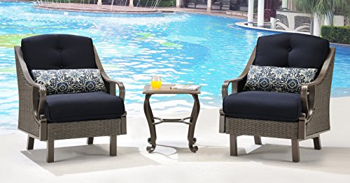 Hanover Outdoor Ventura 3 Piece Chat Set, Navy Blue Benefits