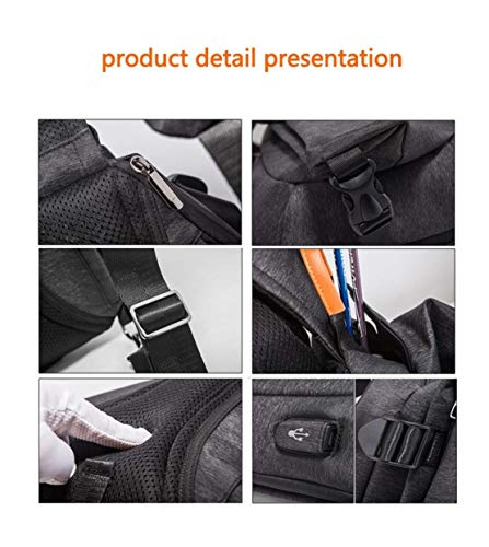Charging Port Size Waterproof function Casual color Usb Multi Men's Sling Messenger Black Chest With Moontang Black Bag Sports Pocket Travel Outdoor YH6ww0