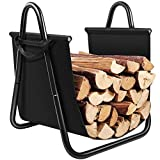 indoor fireplace wood - Fireplace Log Holder with Canvas Tote Carrier Indoor Fire Wood Rack Black Firewood Storage Holders Log Bin Heavy Duty Fire Logs Stacker Basket with Handles Kindling Wood Stove Accessories