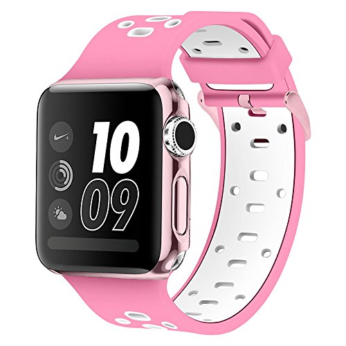 Band for Apple Watch 42mm, Alritz [Patent Pending] Silicone Sport Strap Replacement Wristband with Free Protective Cover for Apple Watch Series 2, Series 1, Nike+, Sport, Edition, Rose Pink/White