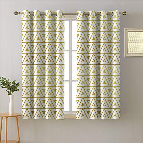 Jinguizi Gold and White Grommet Curtain Kitchen Window,Triangles Geometric Design with Chevron Zig Zag Style Image Print,Window Darkening Curtains,108W x - Solid Karin Maki Color