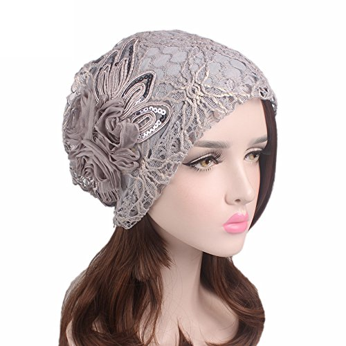 Wcysin Women Embroidery Net Turbans Headwear Head Scarf Head wraps Cancer Hats - Wash Viscose Hand