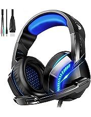 Gaming Headset für PS4 PC Xbox One, Over-Ear Kopfhörer mit Rauschunterdrückungs mikrofon LED Licht, Kabelgebundenes Gaming Headset für Laptop,MAC,Nintendo Switch, Smartphone,Tablet (Freier Adapter)
