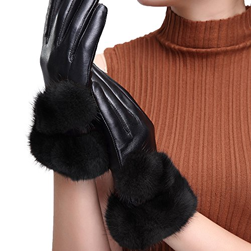 bestfur Women's Touchscreen Mink Fur Lambskin Leather Gloves with Fleece Lining