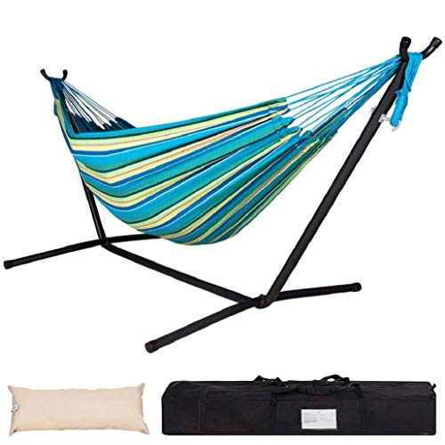 Lazy Daze Hammocks Double Hammock with Space Saving Steel Stand Includes Portable Carrying Case and Head Pillow, 450 Pounds Capacity Oasis Stripe