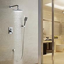 Lightinthebox®Modern Shower Faucet Set Wall Mount Contemporary Chrome Handshower Included, Rain Shower Four Holes Single Handle