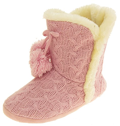 Slipper Knitted Fur Lined Womens Pink Cable Eleanor Dunlop Boots Tw1Agq