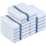 Kitchen Towels Dish Cloth (12 Pack) Machine Washable 100% Cotton White Kitchen Dishcloths Towel Tea Towels (38 x 64 Centimeters) by Utopia Towels (Blue)