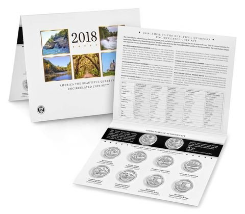 - 2018 P & D America the Beatiful Quarters Uncirculated Coin Set US Mint Packaged
