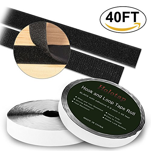 Self Adhesive Hook and Loop Tape Roll 40 Feet x 0.8 Inch Fabric Fastener Mounting Tape by Holotap Adhesive Fastening Strips (Black) (Mounting Adhesive Roll)