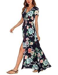 d3d0c9a0f221 Urban CoCo Women's Boho Floral Print Sexy Single Breasted Split Maxi Beach  Dress