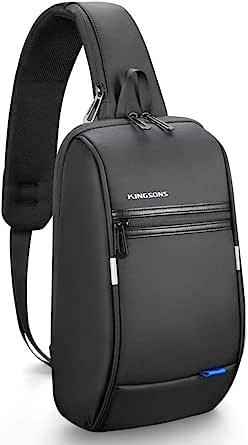 Bolsa masculina Kingsons Mini antifurto com alça no peito, bolsa de ombro transversal à prova d'água, adequada para iPad de 9,7 polegadas