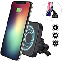 Wireless Car Charger, Flowerus Fast Wireless Charger Magnetic Phone Car Air Vent Dashboard Holder Mount for iPhone X/iphone 8 Samsung Galaxy S8/S8 Edge/S7 Accessories Compatible All Qi-Enabled Devices