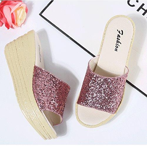 Donna Casual Scarpe Con Zeppa Estate Sandali Pendio Antiscivolo Moda Paillettes Decorazione Rosa