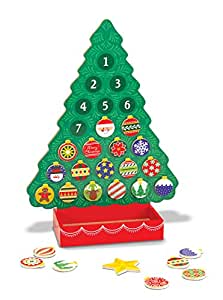Melissa & Doug Countdown to Christmas Wooden Advent Calendar - Magnetic Tree, 25 Magnets