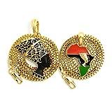 Fashion 21 Nefertiti Africa Continent, Nefertiti Pendant 16'',18'',20'',24'' Box Chain 2 Necklace Set in Gold Tone (16'' + 18'' Box Set)
