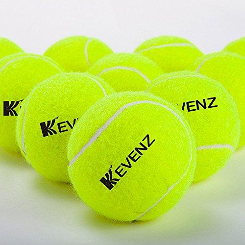 12-Pack KEVENZ Green Advanced Training Tennis Balls ,Practice Ball ( Interlocked wool fiber)